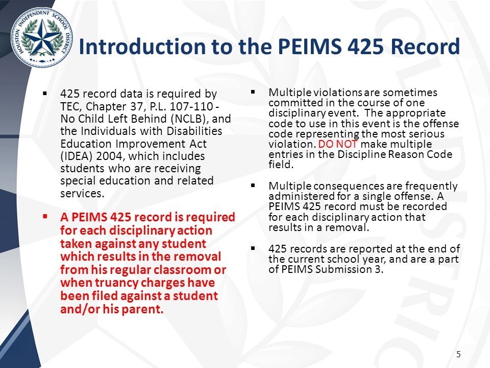 Introduction to the PEIMS 425 Record