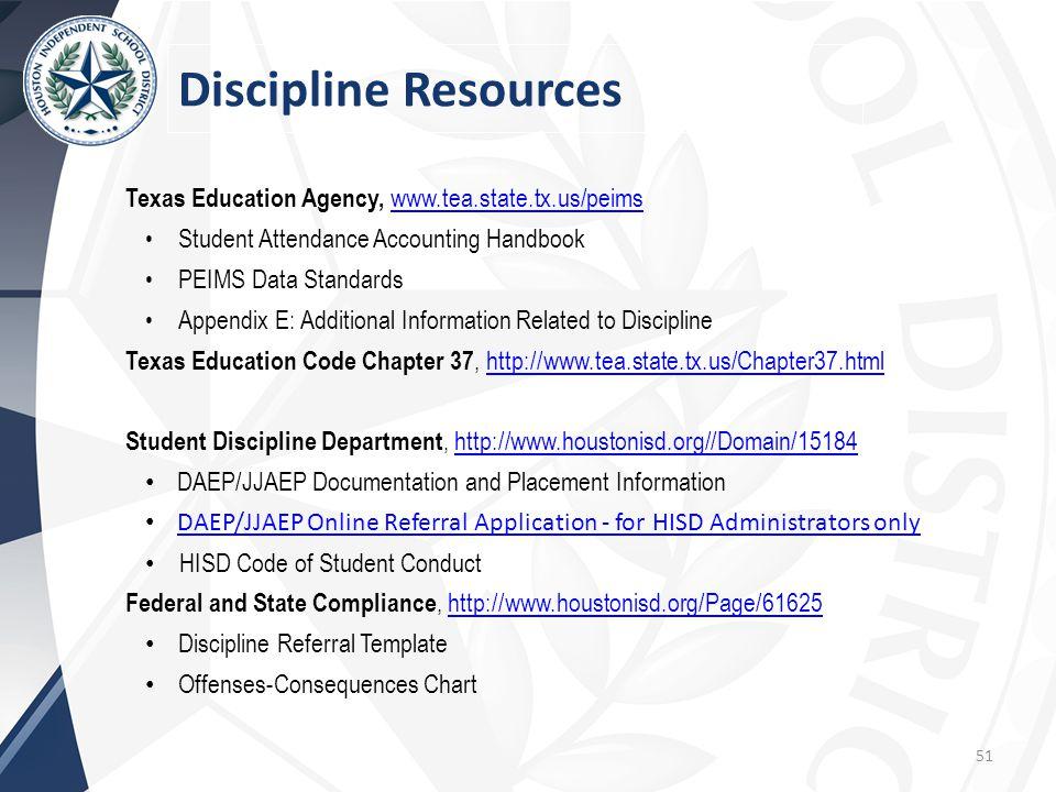 Discipline Resources Texas Education Agency, www.tea.state.tx.us/peims