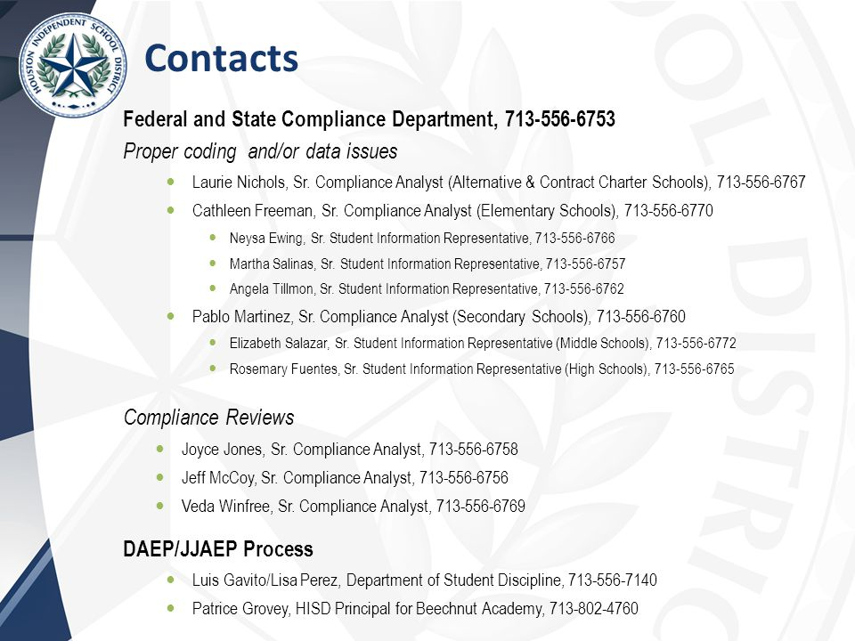 Contacts Federal and State Compliance Department, 713-556-6753