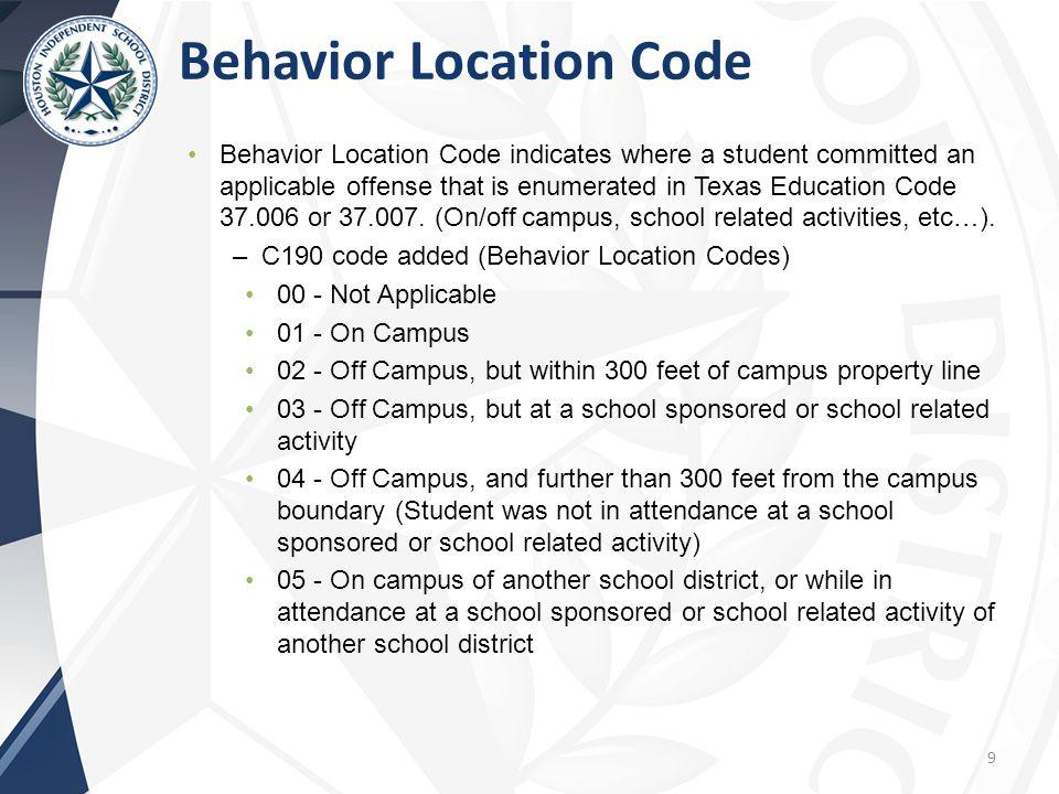 Behavior Location Code