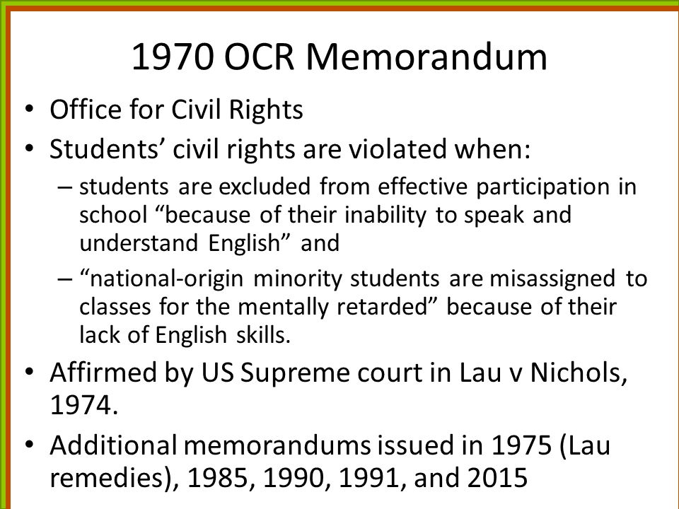 1970 OCR Memorandum Office for Civil Rights