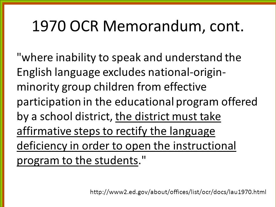 1970 OCR Memorandum, cont.