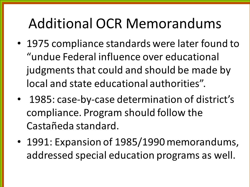 Additional OCR Memorandums