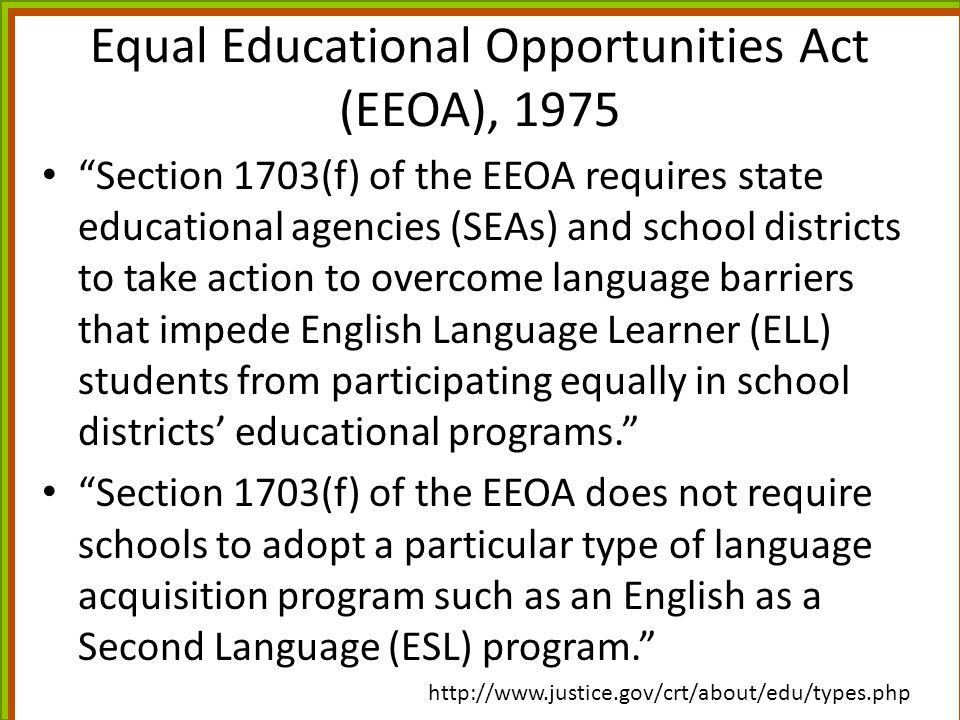 Equal Educational Opportunities Act (EEOA), 1975
