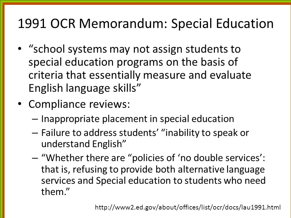 1991 OCR Memorandum: Special Education