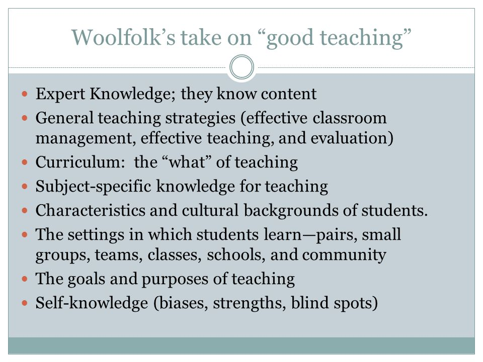 Woolfolk's take on good teaching