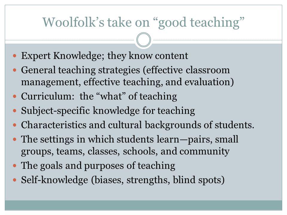 Woolfolk's take on good teaching