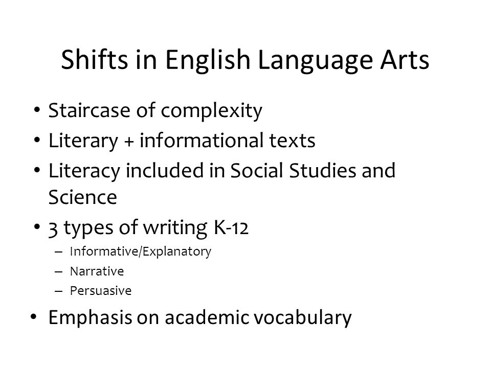 Shifts in English Language Arts