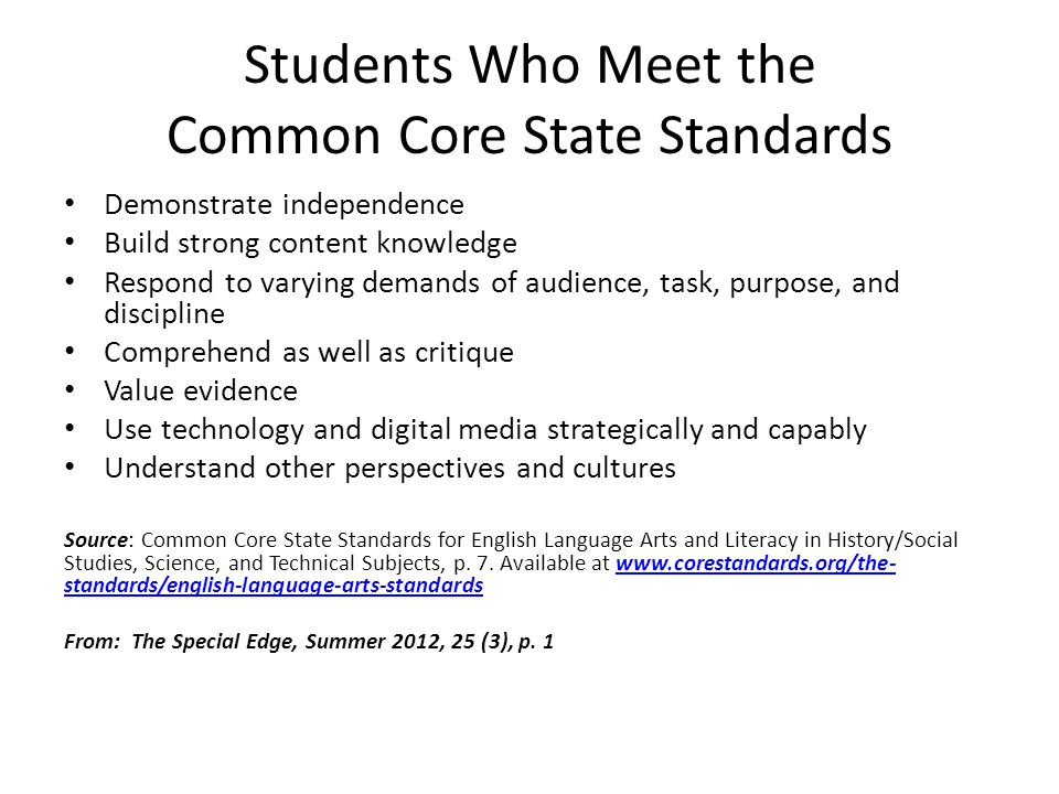 Students Who Meet the Common Core State Standards