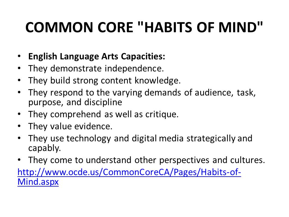 COMMON CORE HABITS OF MIND