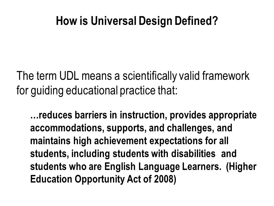 How is Universal Design Defined