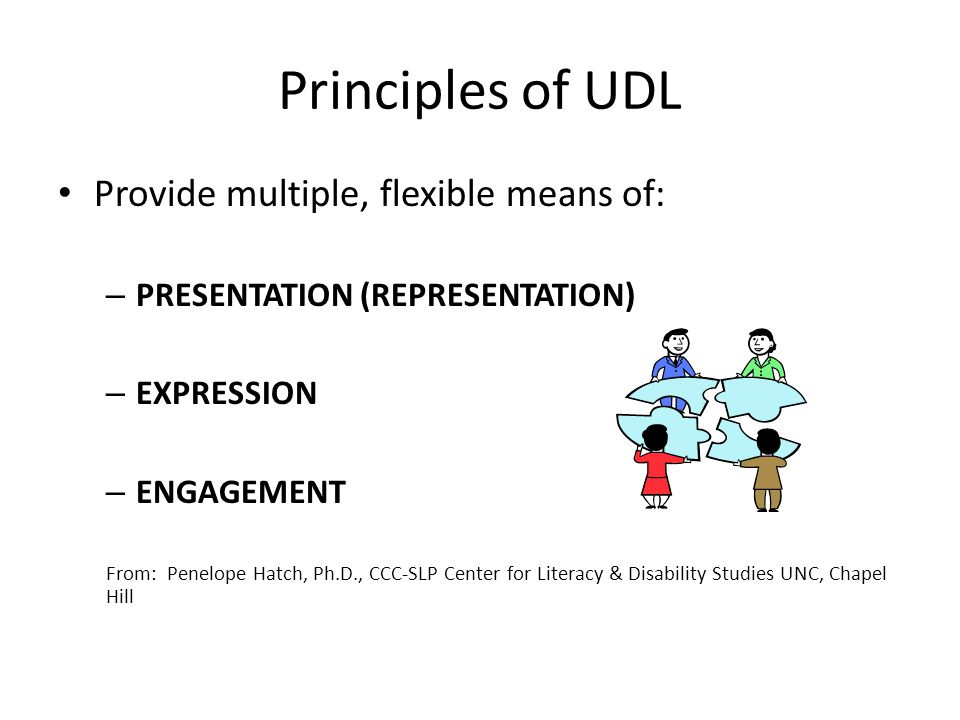 Principles of UDL Provide multiple, flexible means of: