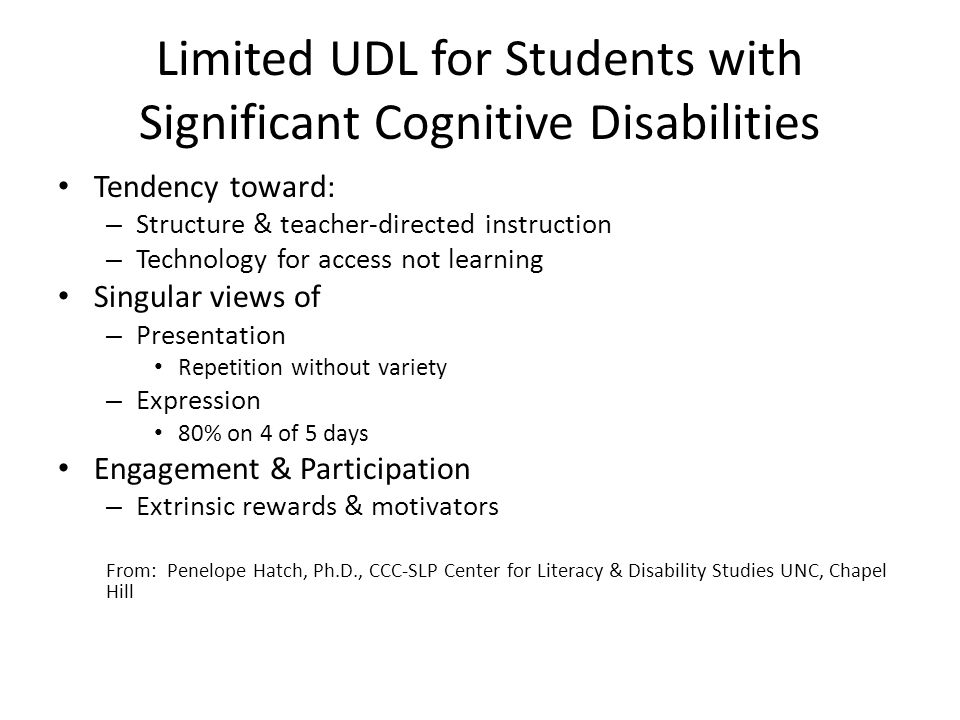 Limited UDL for Students with Significant Cognitive Disabilities