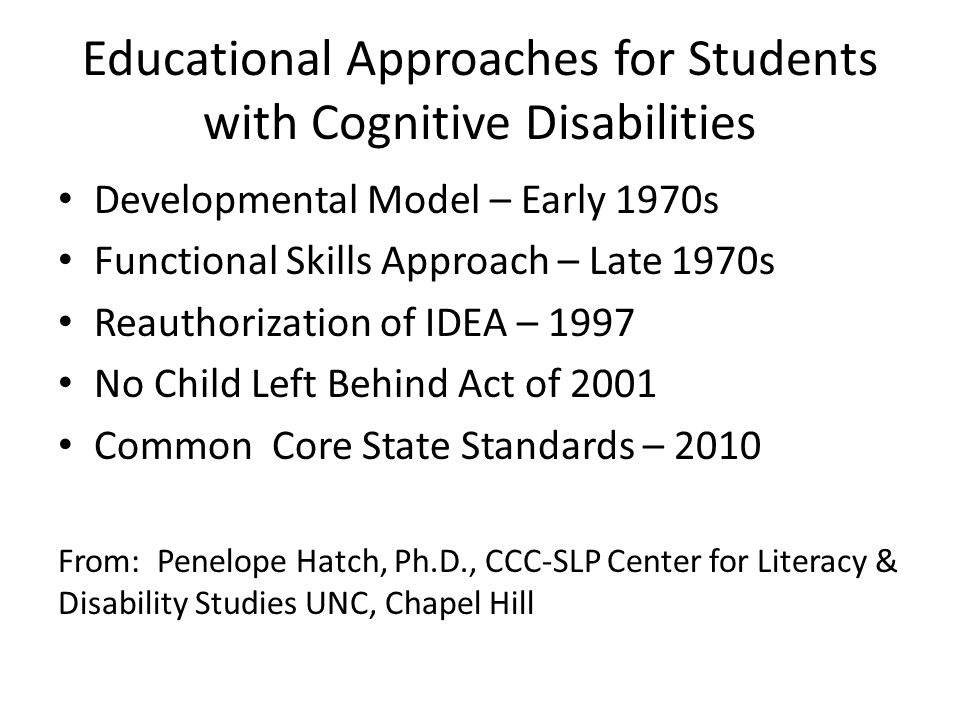Educational Approaches for Students with Cognitive Disabilities