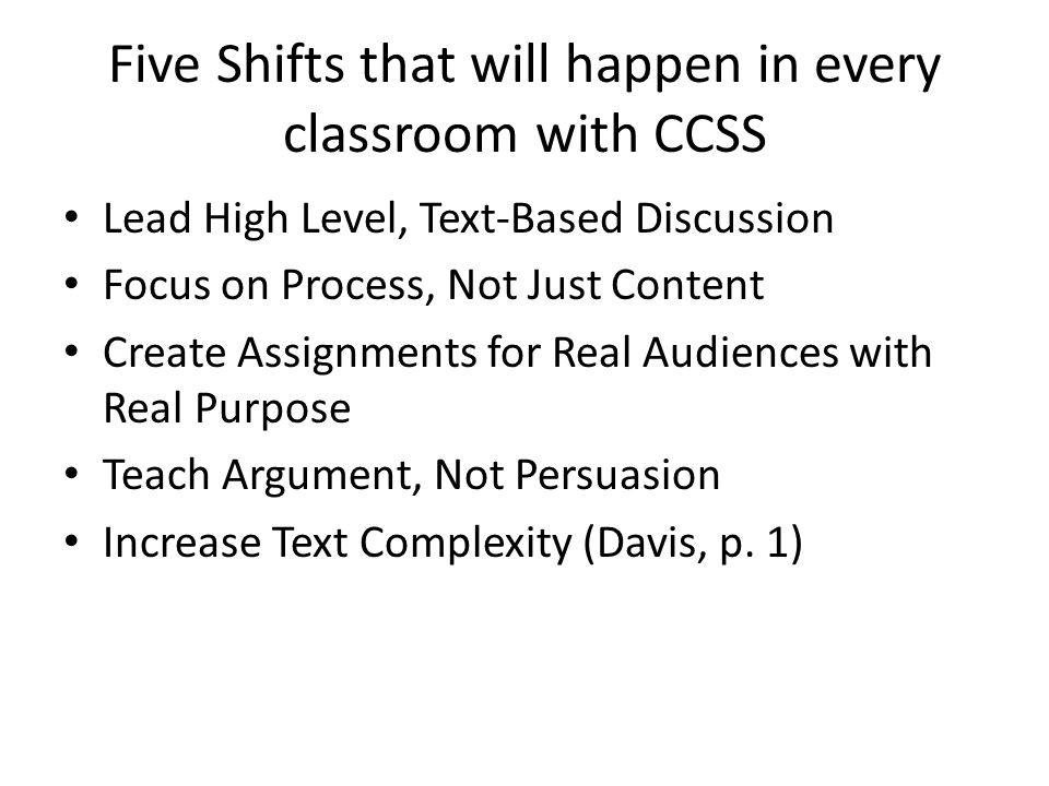 Five Shifts that will happen in every classroom with CCSS