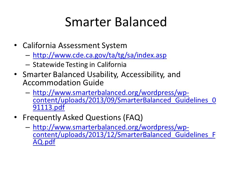 Smarter Balanced California Assessment System