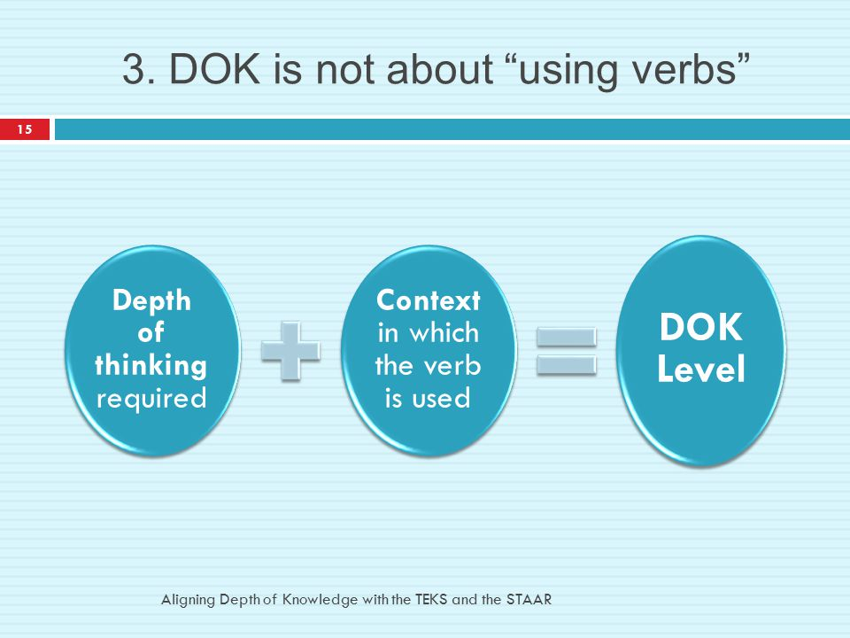 3. DOK is not about using verbs