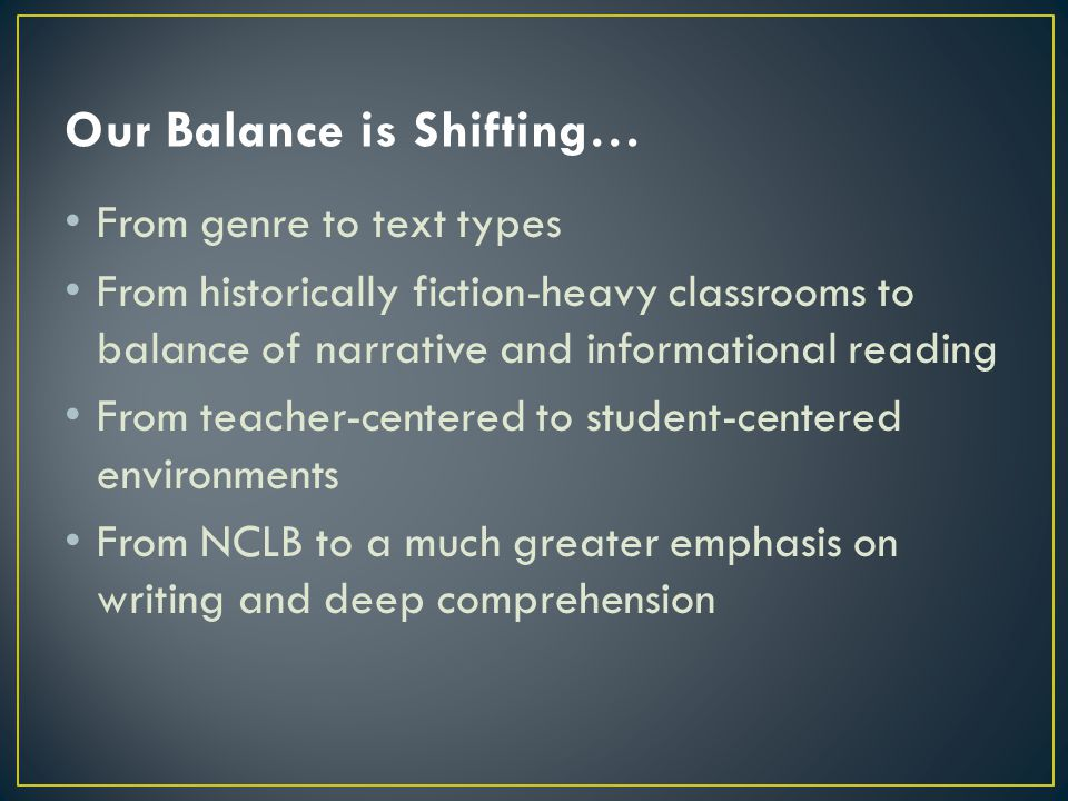 Our Balance is Shifting…