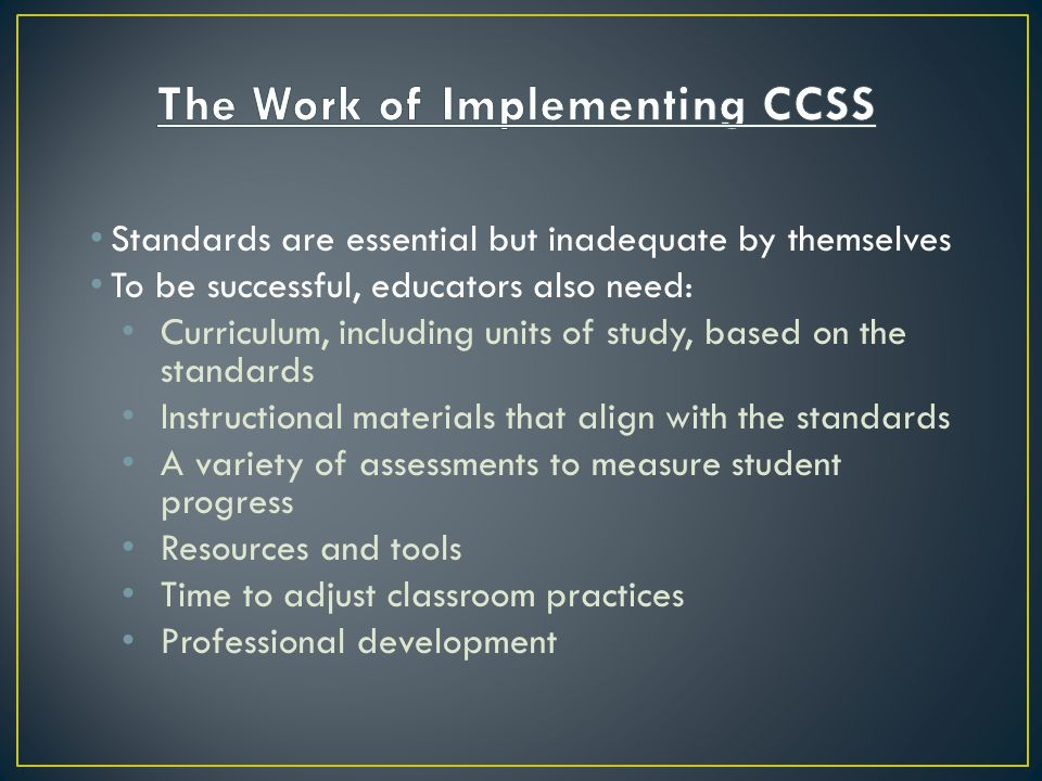 The Work of Implementing CCSS