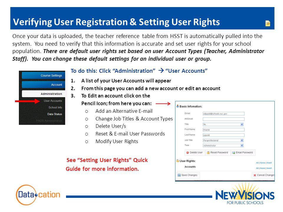 Verifying User Registration & Setting User Rights
