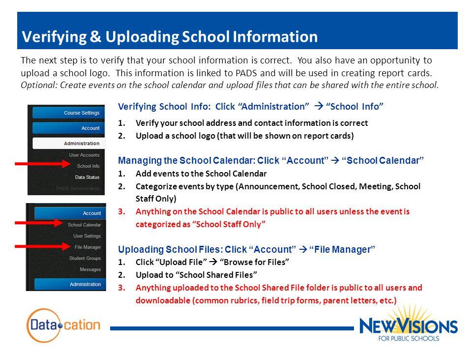 Verifying & Uploading School Information