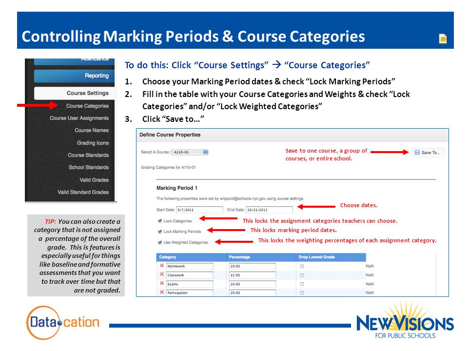 Controlling Marking Periods & Course Categories