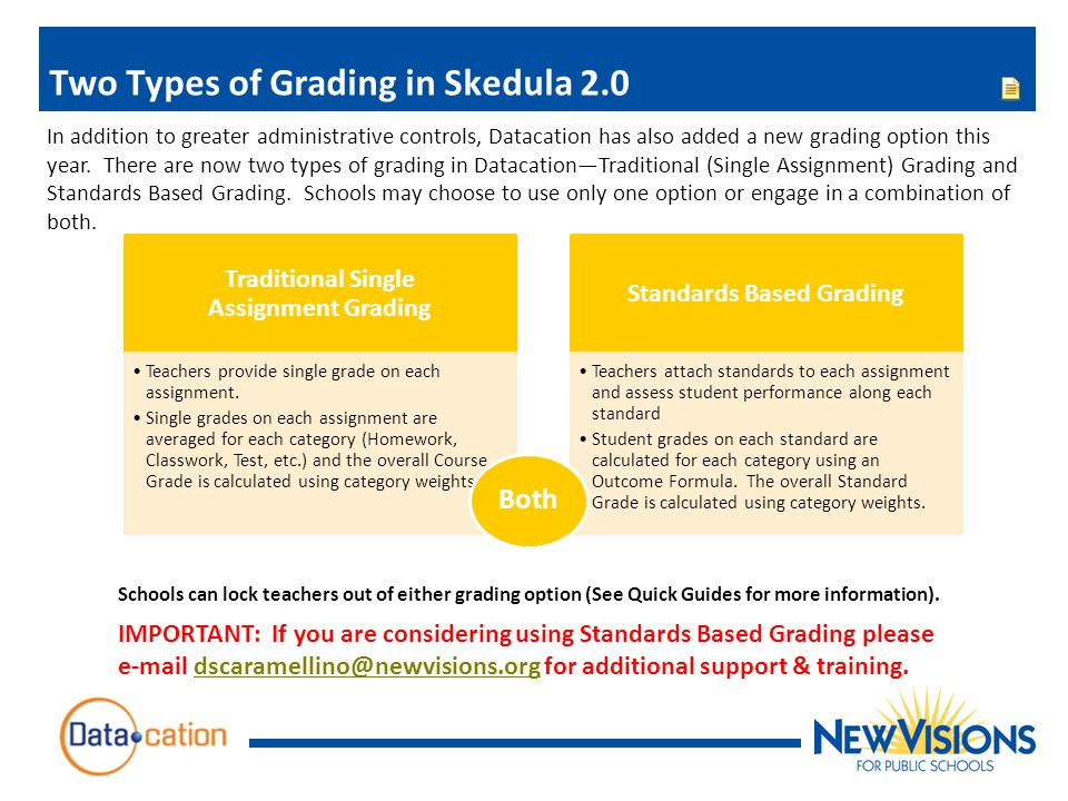 Two Types of Grading in Skedula 2.0