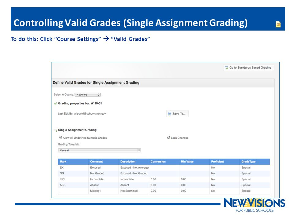 Controlling Valid Grades (Single Assignment Grading)