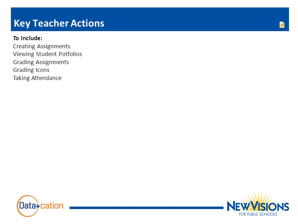 Key Teacher Actions To Include: Creating Assignments