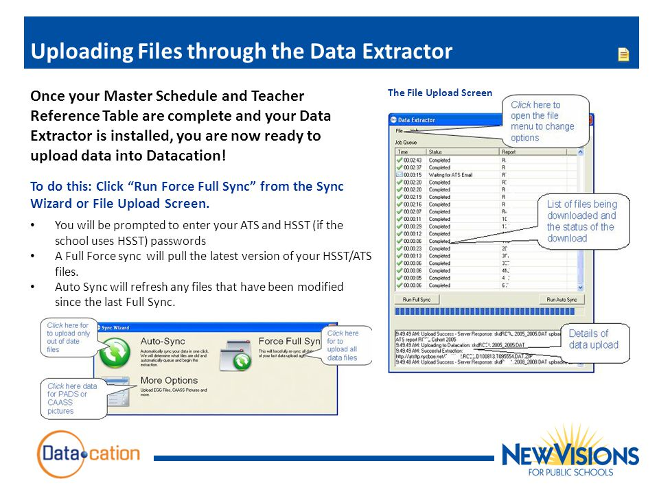 Uploading Files through the Data Extractor