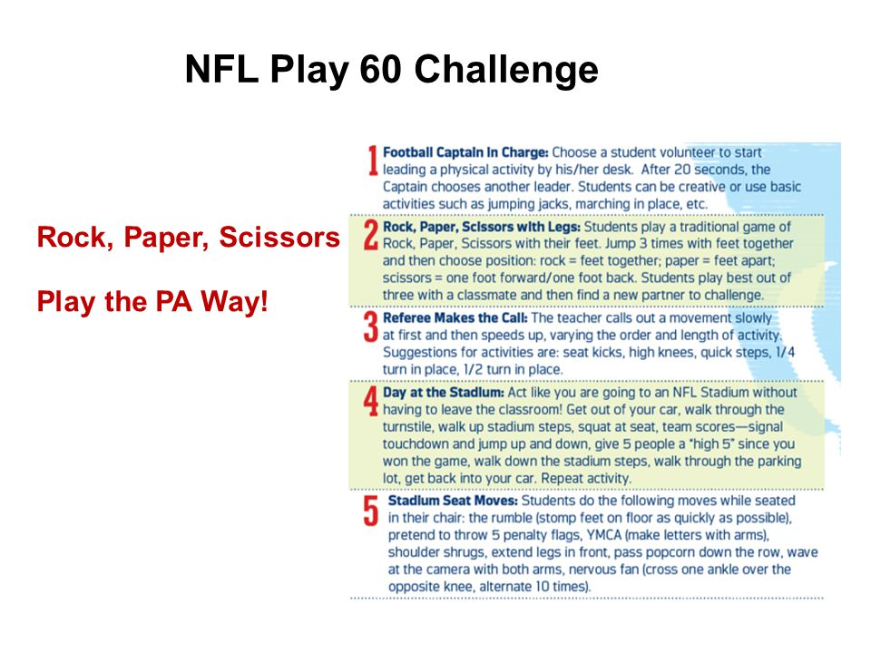 NFL Play 60 Challenge Rock, Paper, Scissors Play the PA Way!