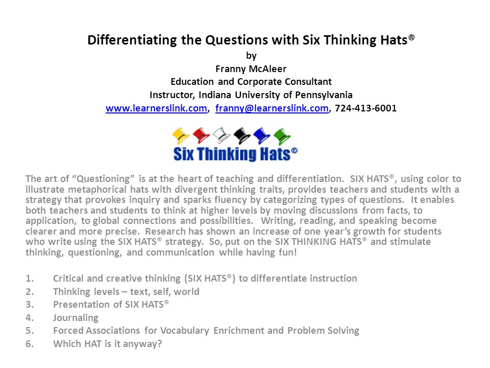 Differentiating The Questions With Six Thinking Hats By Franny Mcaleer Education And Corporate Consultant Instructor
