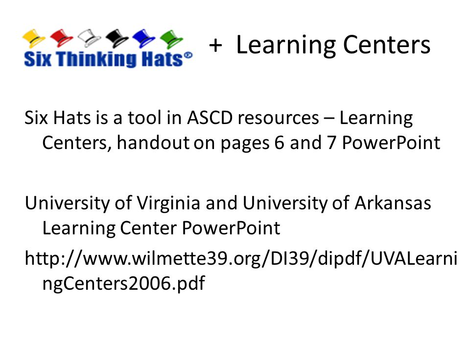 + Learning Centers
