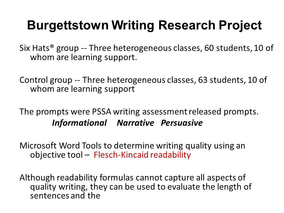 Burgettstown Writing Research Project