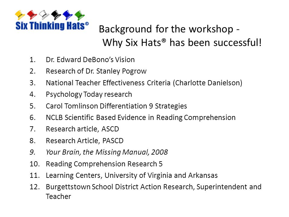 Background for the workshop - Why Six Hats® has been successful!