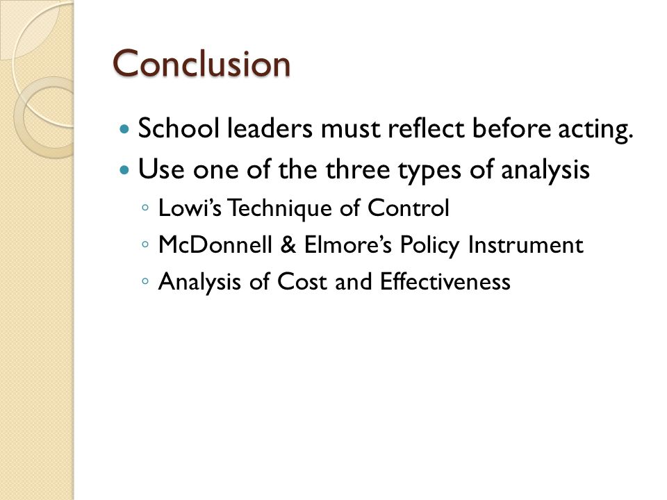Conclusion School leaders must reflect before acting.