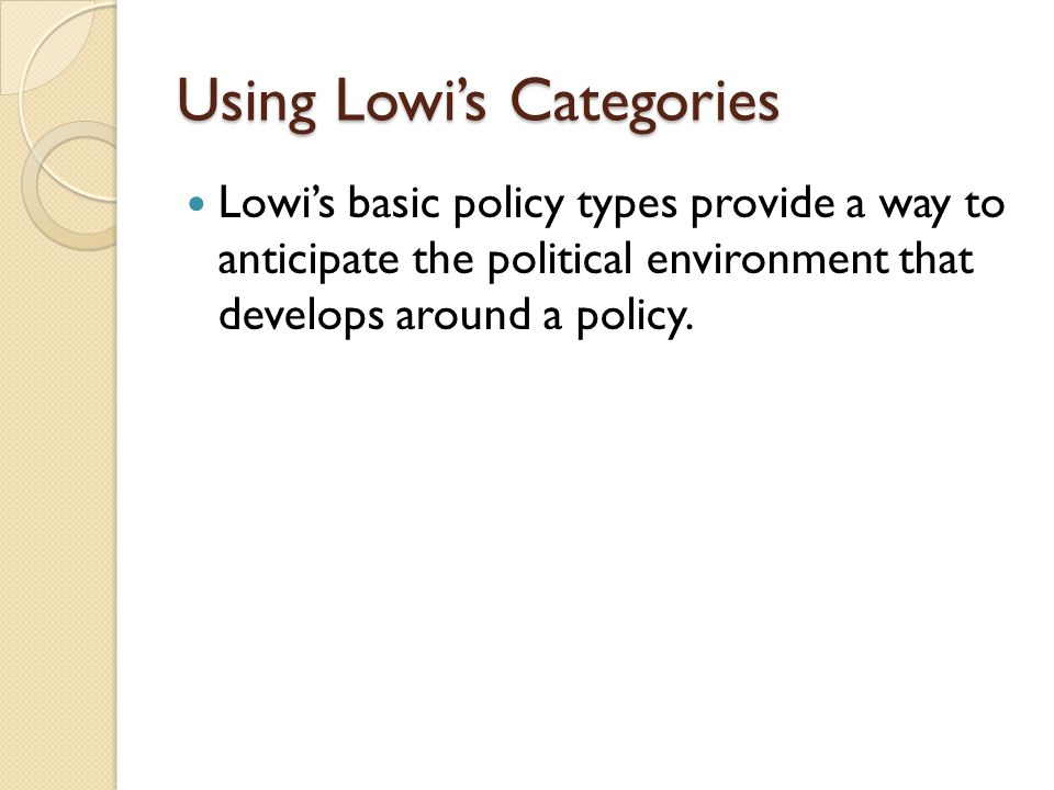 Using Lowi's Categories