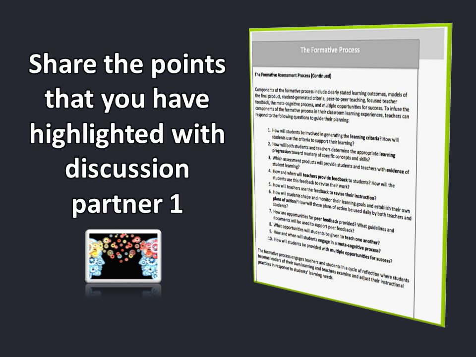 Share the points that you have highlighted with discussion partner 1