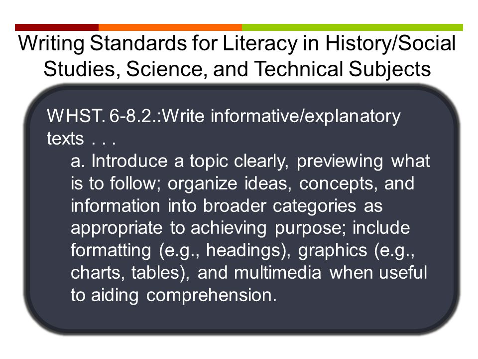 Writing Standards for Literacy in History/Social Studies, Science, and Technical Subjects