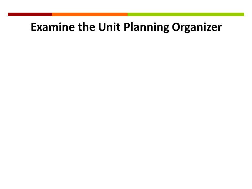 Examine the Unit Planning Organizer