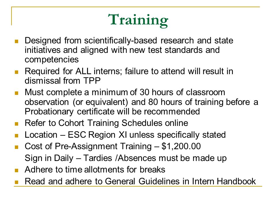 Training Designed from scientifically-based research and state initiatives and aligned with new test standards and competencies.