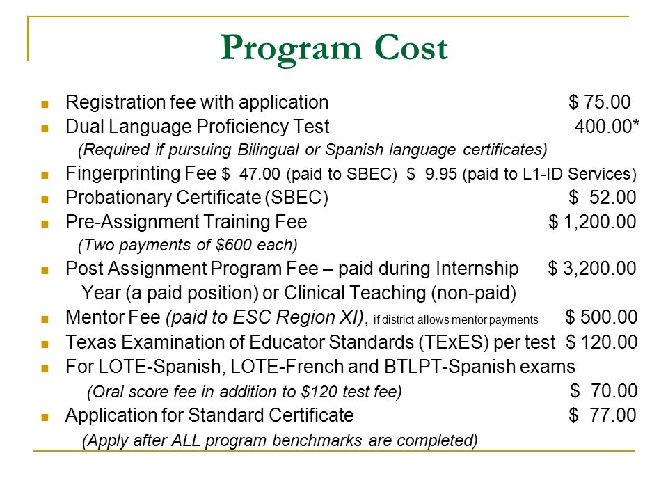 Program Cost Registration fee with application $ 75.00