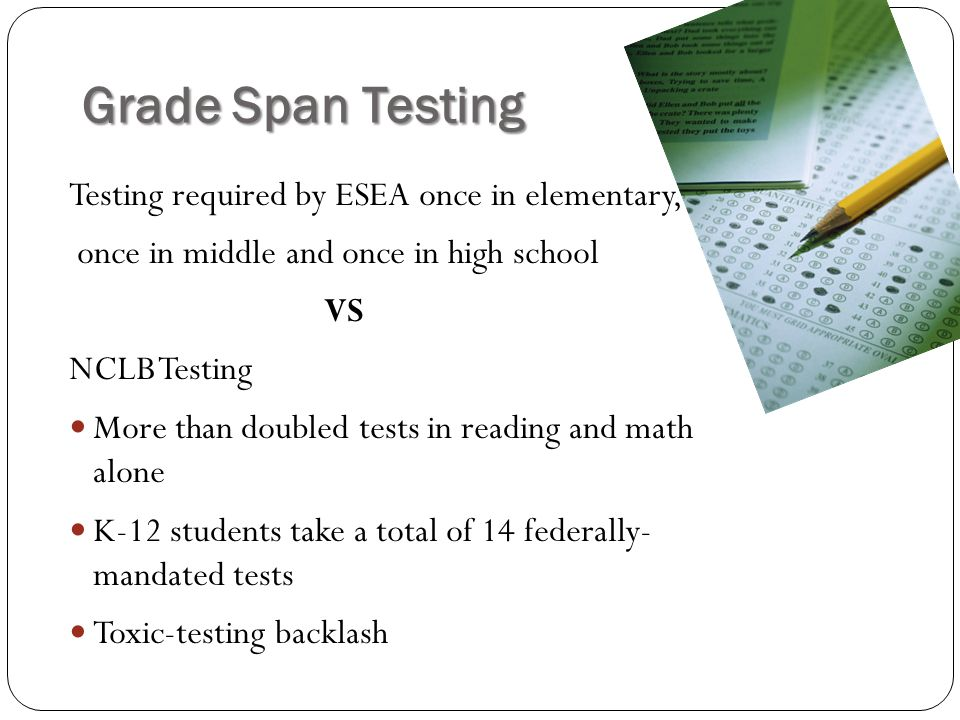 Grade Span Testing Testing required by ESEA once in elementary,