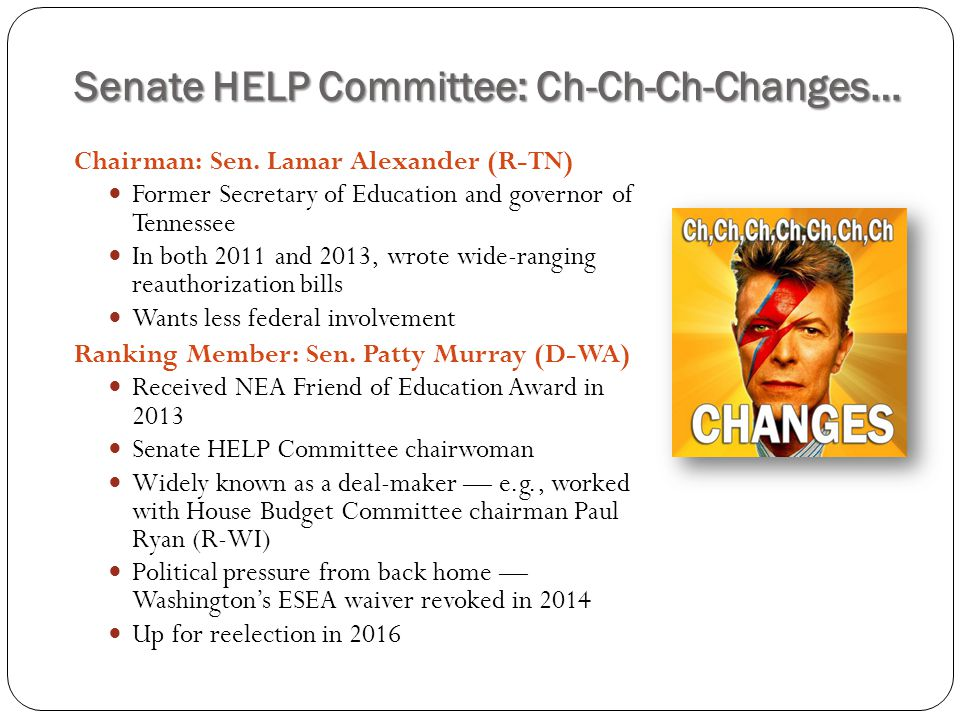 Senate HELP Committee: Ch-Ch-Ch-Changes…