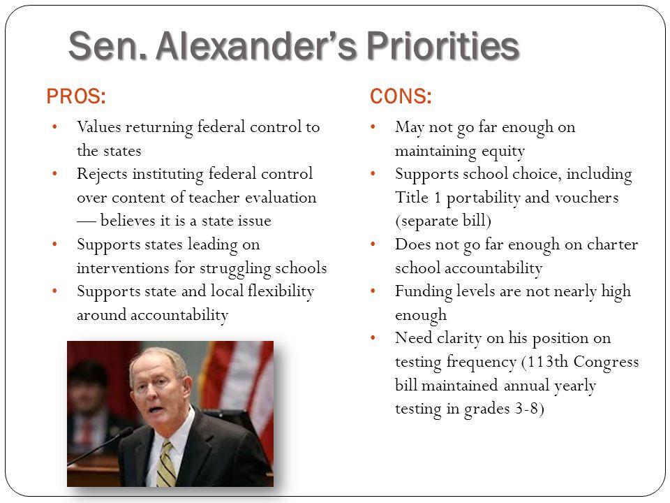 Sen. Alexander's Priorities