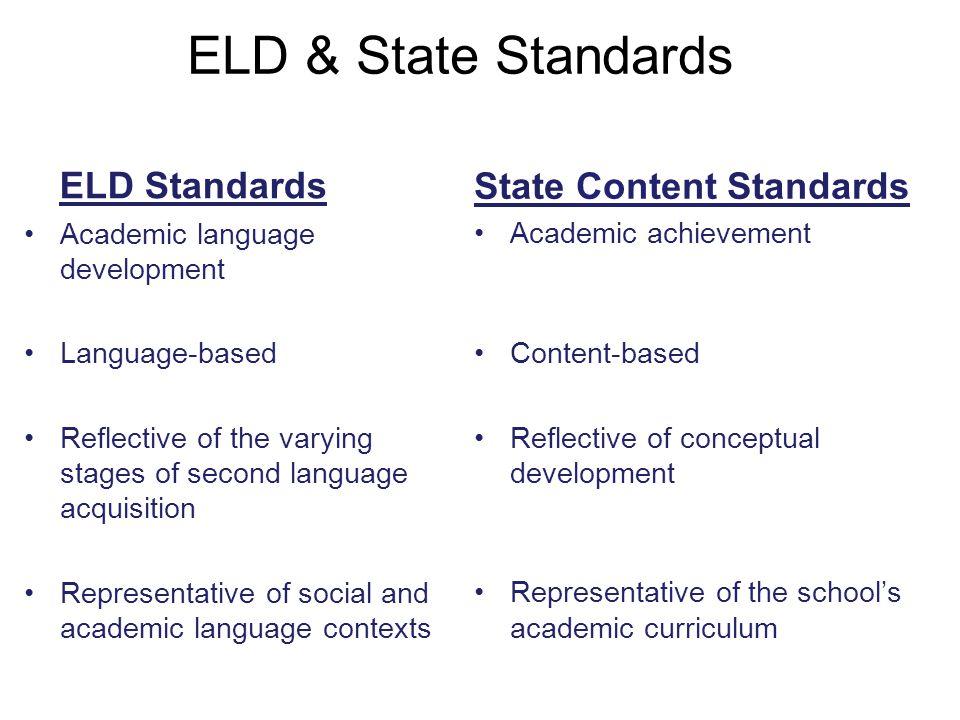 ELD & State Standards ELD Standards State Content Standards