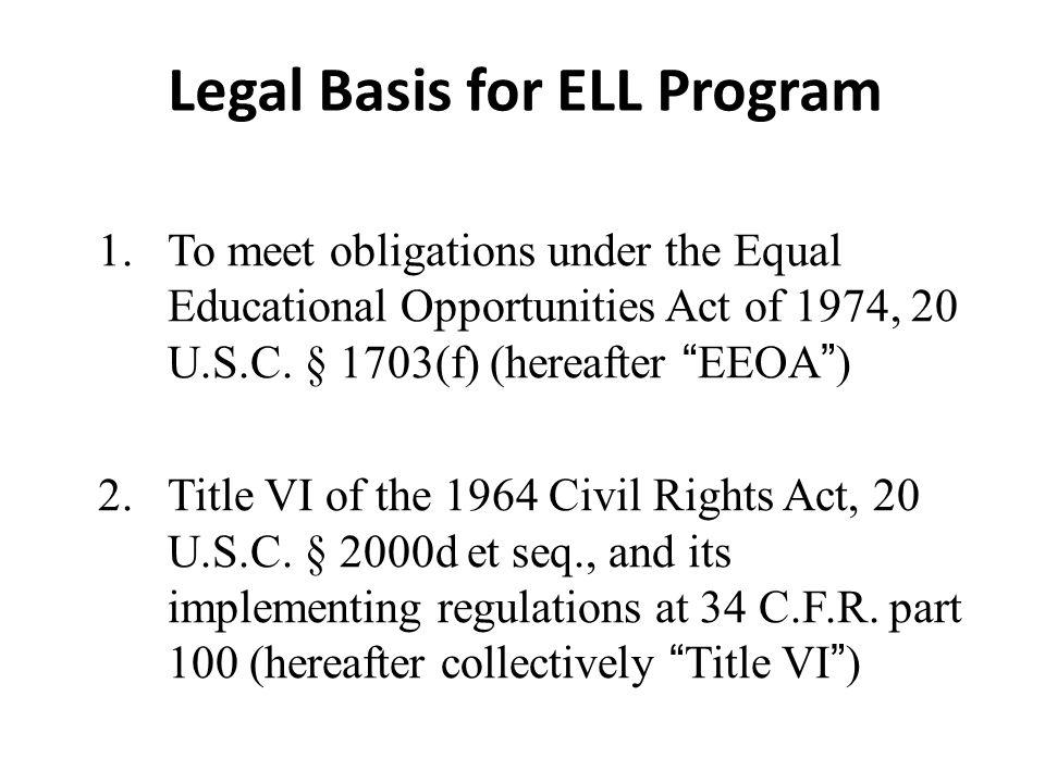 Legal Basis for ELL Program