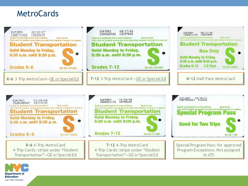 MetroCards K-6 3-Trip MetroCard—GE or Special Ed