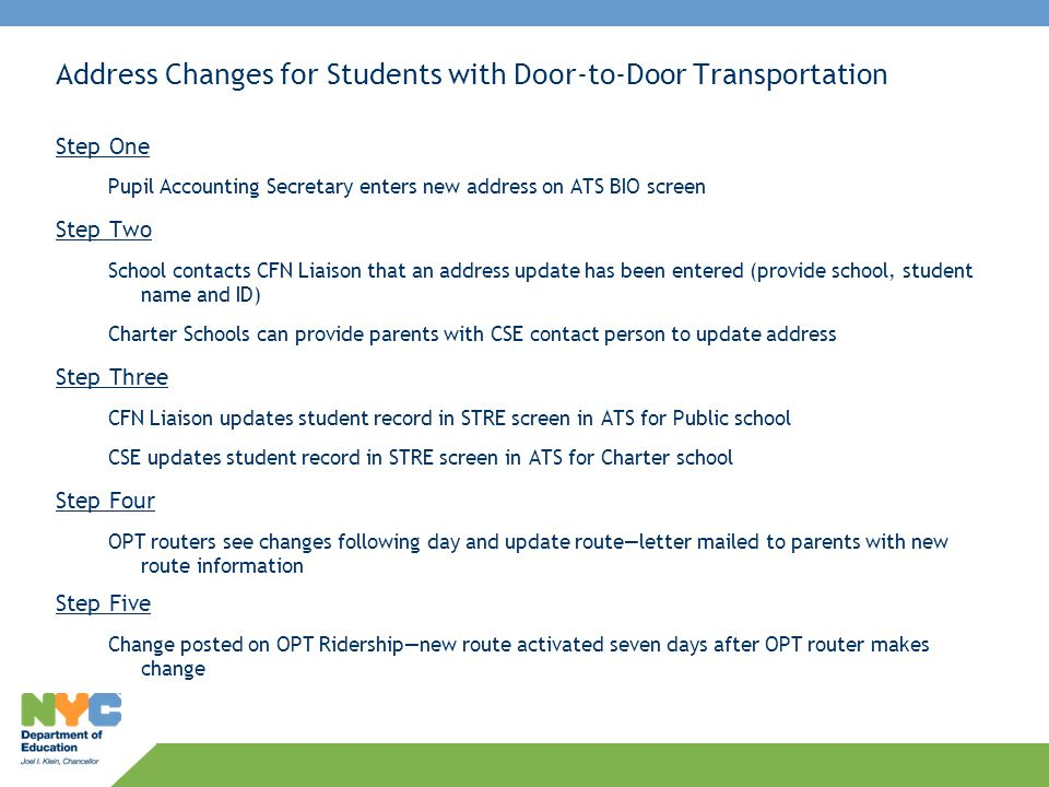 Address Changes for Students with Door-to-Door Transportation