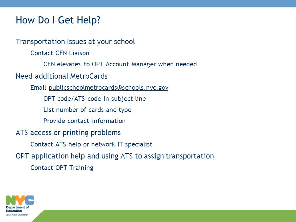 How Do I Get Help Transportation Issues at your school